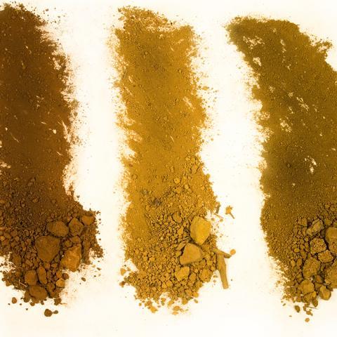 Different types of dirt against a white background