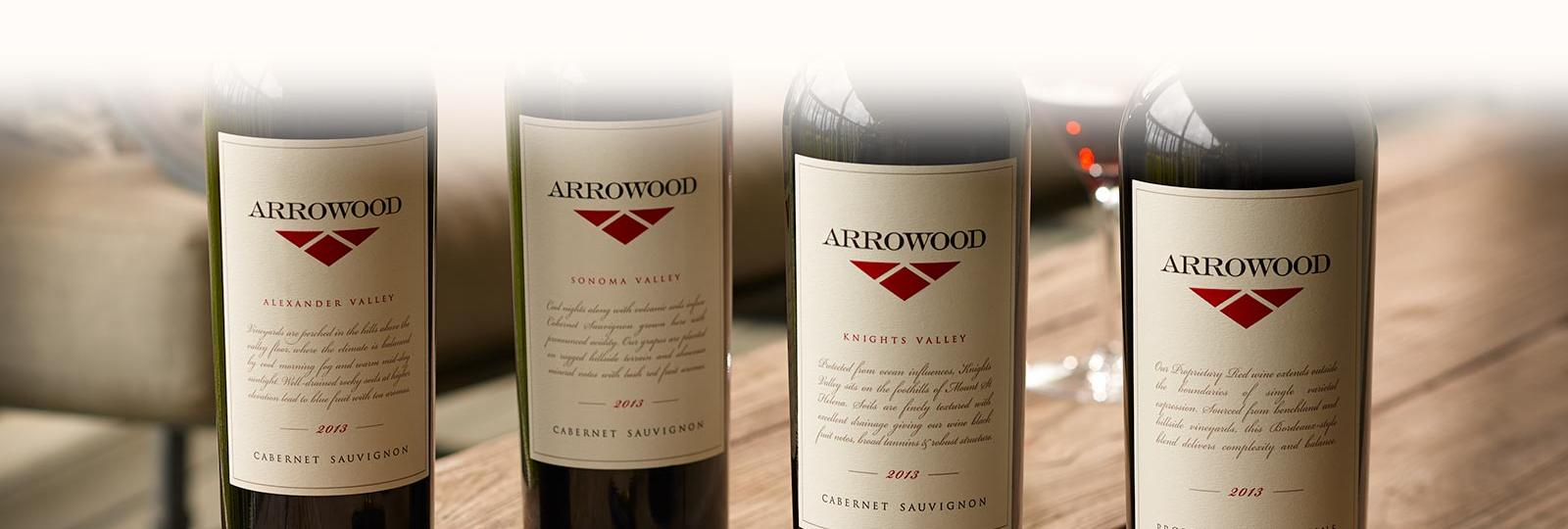 Arrowood wines on a table