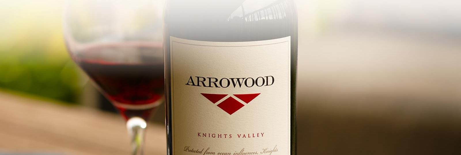 Arrowood red wine with glass