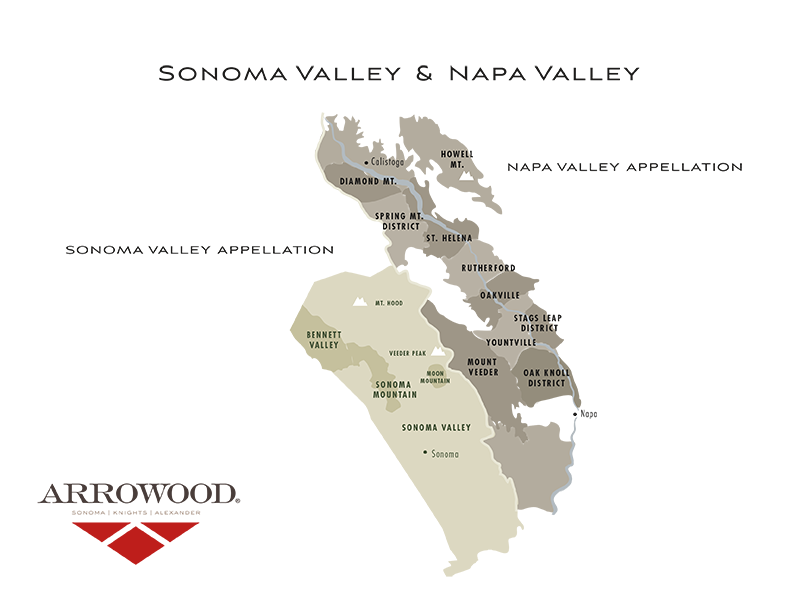 Sonoma Valley and Napa Valley AVA Map