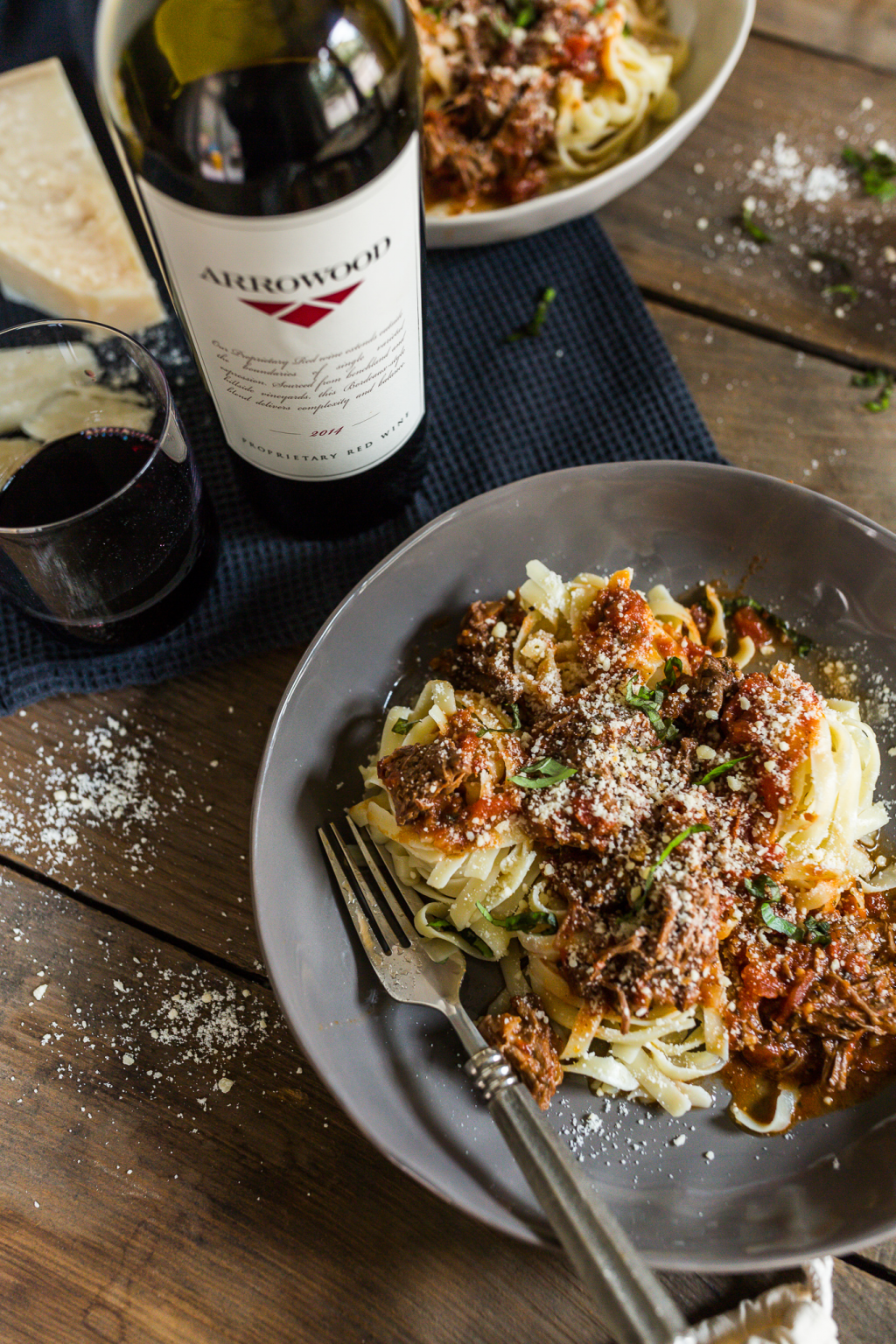 Red Wine Braised Short Rib Ragu Served over Tagliatelle Pasta