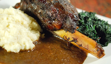 Venison with mashed potatoes and greens